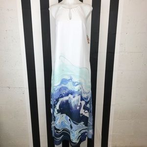 Bar III Dip-Dye Wave Pattern White Blue Maxi Dress